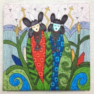 Painting of 2 Hopi Corn Maidens who are ears of corn symbolize beauty of growth and life