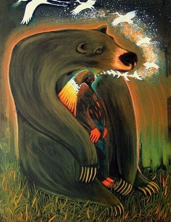 Drawing of bear holding a person while they are having a visionary experience. It represents spirit of bear as a medicine animal helper that provides protection for someone doing a shamanic journey during an insight session or Sedona Retreat
