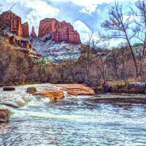 Oak Creek and Cathedral Rock in winter symboliozes Winter Solstice Calling Back the Light Retreat in Sedona