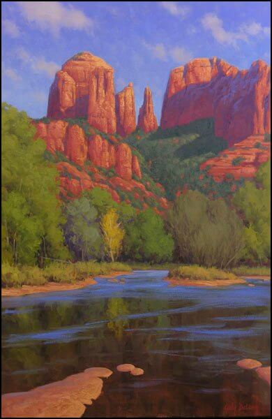 """Painting of Cathedral Rock in Sedona: """"Cathedral Morning"""" by Cody DeLong of Jerome, Arizona"""