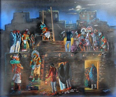 Hopi Dancers At Night by Raymond Naha, 1933-1975--Hopi-Tewa artist who studied with Fred Kabotie at Oraibi High School. He is known for his ability to paint the smallest aspects of Hopi life in great detail.