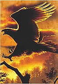 Eagle with a fiery background symbol of new vision coming to light