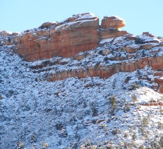 New snow on Sedona's Eagle Head Rock. It represents how each season has its gifts, its own energetics and beauty that has made Sedona a place an ancient and modern place of pilgrimage and inspiration.