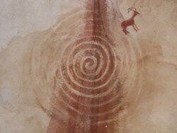 Ancestor rock art painting of a spiral illustrates the circle of power you connect with during ceremomy