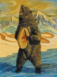 Painting of a Bear with a drum symbolizes spiritual helpers and power animals that connect with us during drum healing ceremony