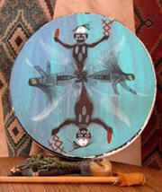 Deerskin drum I made and a Hopi artist painted with the Earth Carrier Twins and other spiritual beings emerging from the kiva in the earth. Purpose of image is show drum which is a primary tool used for shamanic journey. The images speak of wise helper spirits from a Hopi culture perspective.