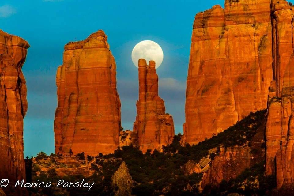 4 Sisters with full moon behind center spire. Symbolizes an inspiring nature energy connection site.