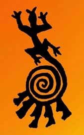 Lizard with spiral tail drawing symbolizes new creation and ceremony.