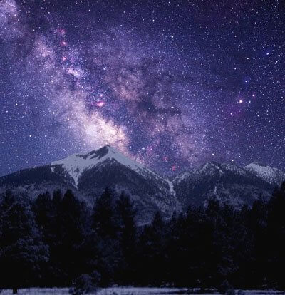 Snowy peaks with Milky Way overhead speak of the fascination with the stars here in the Sedona and Colorado Plateau region.
