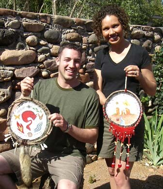 Shields displayed by a man and woman made after their solo overnight vision quest ceremony