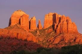 Cathedral Rock with shadow of setting sun: a Sedona scenic, sacred and vortex site