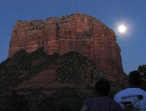 Full moon rising over Courthouse Rock, Sedona:  symbolizes Memorial week solo vision circle program, Sedona