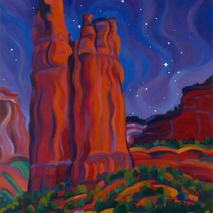 Painting of Spider Rock, Canyon de Chelly at night with stars overhead; symbolizes Navajo mystic vision spirit journey to Canyon de Chelly