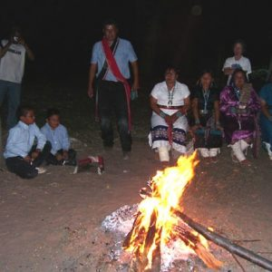 Navajo fire ceremony showing Navajo family was part of our Navajo Spirit Journey.