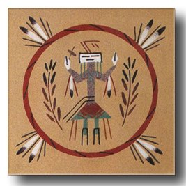 Navajo sandpainting design element on an art board gives a feeling of they style used in this ancestral healing ceremony.