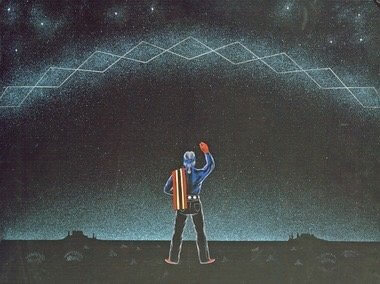 Navajo painting of of a man out on Navajoland doing dawn prayers under the Milky Way. Navajo people they know the patterns in the stars.