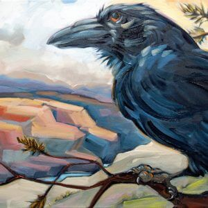 Painting of Raven sitting on a branch overlooking a rugged red canyon. This symbolizes the expansion of consciousness the comes from nature mysticism practices.