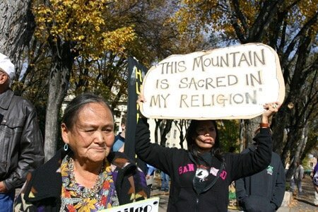Navajo people protest use of reclaimed wastewater to make snow on the sacred peaks.