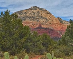 Thunder Mountain with trees in foreground outdoor Sedona scenic site