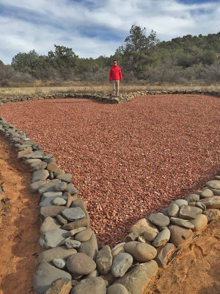 Heart shaped ceremonial site with pink gravel is symbolic of the heart centered shamanic journey and nature connection experiences of this outdoor program.